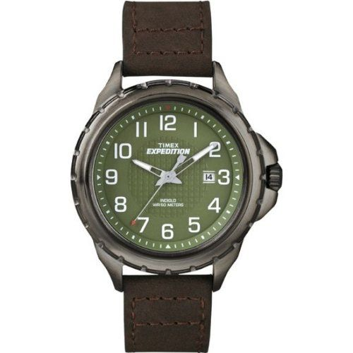TIMEX T49946 / Timex Expedition Rugged Field Watch - Green Dial/Brown Leather Strap -- Read more at the image link.