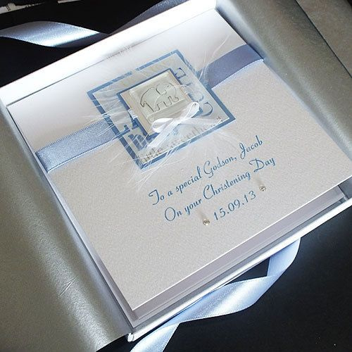 Handmade Boxed Christening Card for Boy by PurpleMountainCards