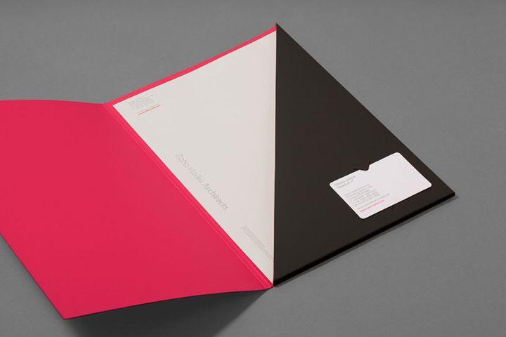 Zaha Hadid Architects brand identity: corporate folder with letterhead and business card...i like, i like