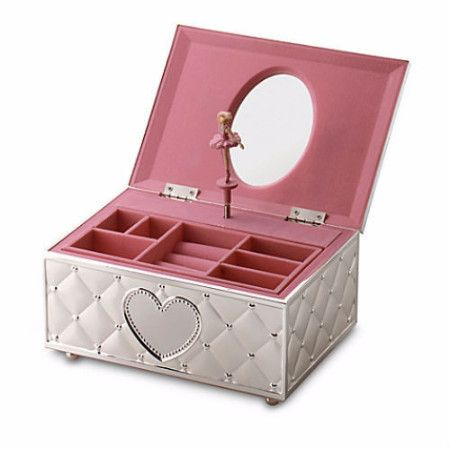 "Opening the lid of this lovely Childhood Memories Musical Ballerina Jewelry Box by Lenox reveals a lovely, perfectly poised ballerina. This box also plays ""Für Elise"" and features a sculpted quilt pat"