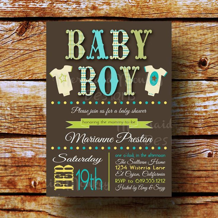 clever baby shower invitation wording%0A Baby Shower Invitation  Baby Boy Shower  Brown Aqua Green  Argyle Plaid   Printable