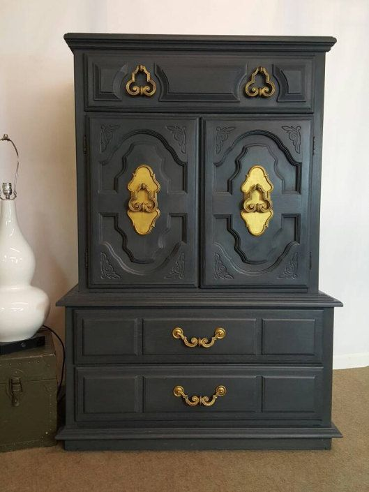 Graphite Armoire / Dark Gray Dresser / Wardrobe