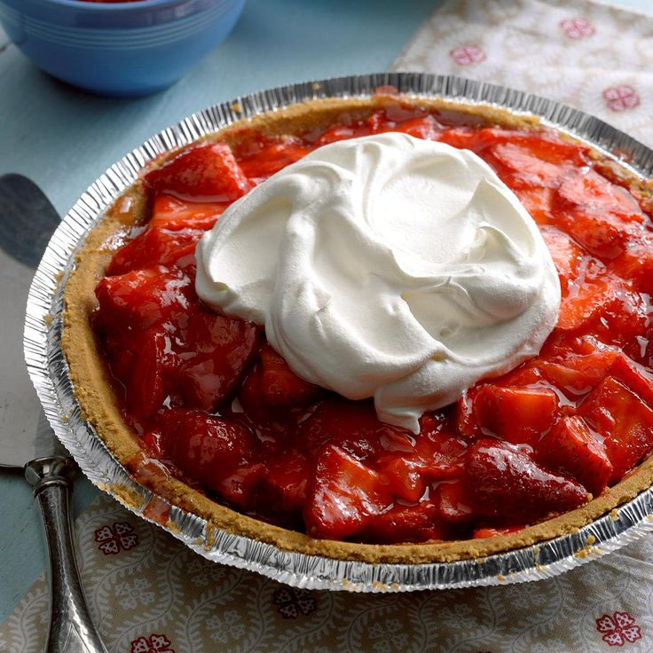 Light Strawberry Pie Recipe -People rave about this luscious strawberry pie. Best of all, it's a low-sugar sensation that you won't feel one bit guilty to eat. —Lou Wright, Rockford, Illinois