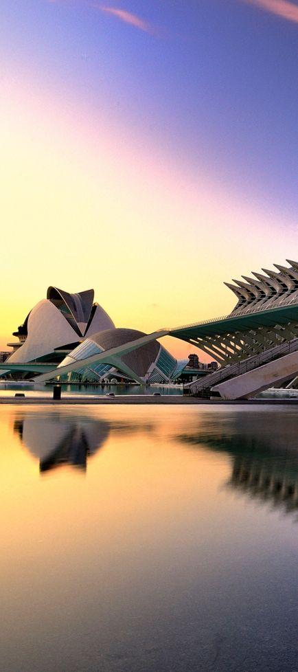 El ciudad de Arte y ciencias en Valencia, España. Tiene muchas arquitectura differentes.
