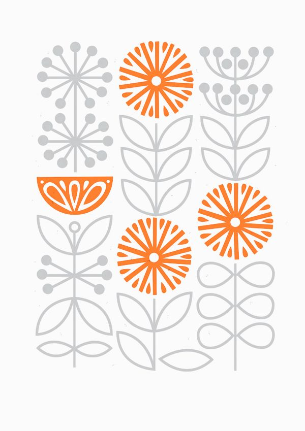 Sarah Abbott, grey and orange, simple, pattern, design, autumn, contemporary, floral