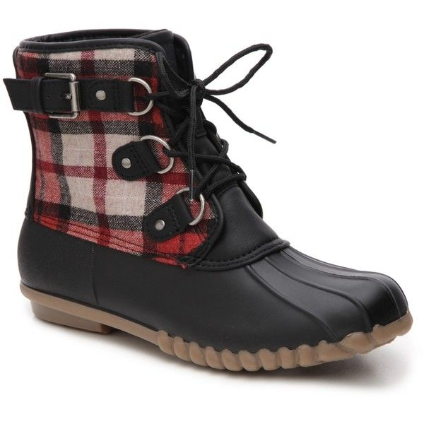 Bare Traps Fahn Duck Boot ($50) ❤ liked on Polyvore featuring shoes, boots, baretrap shoes, laced up boots, long winter boots, baretraps boots and cold weather winter boots