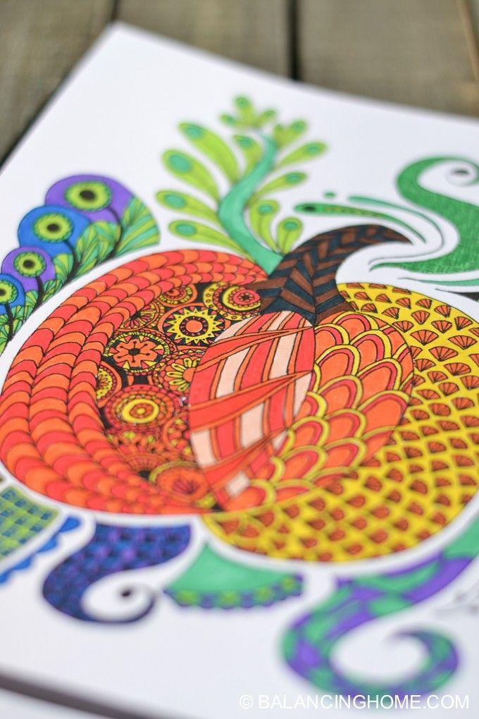 Fun fall/halloween/thanksgiving pumpkin coloring printable.