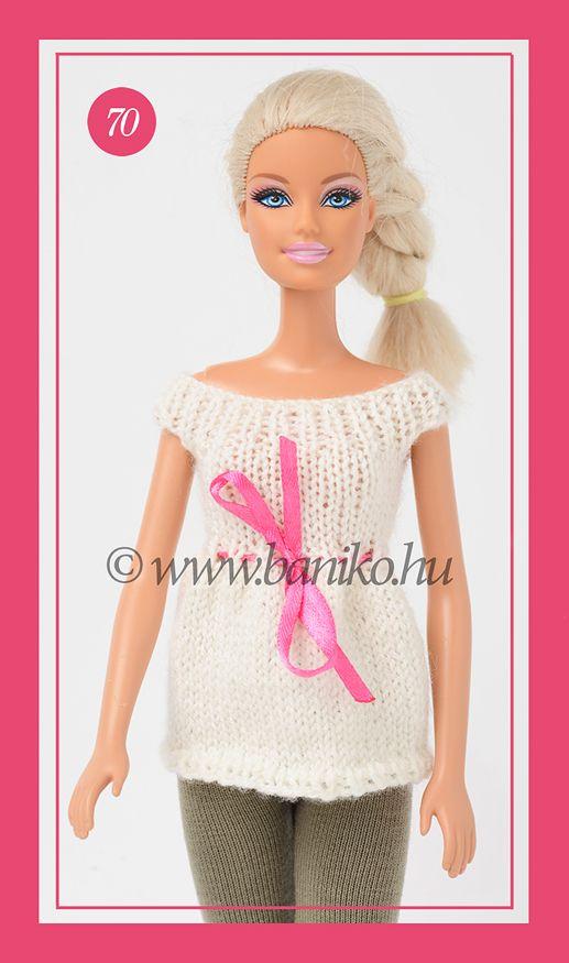 Fehér kötött Barbie tunika