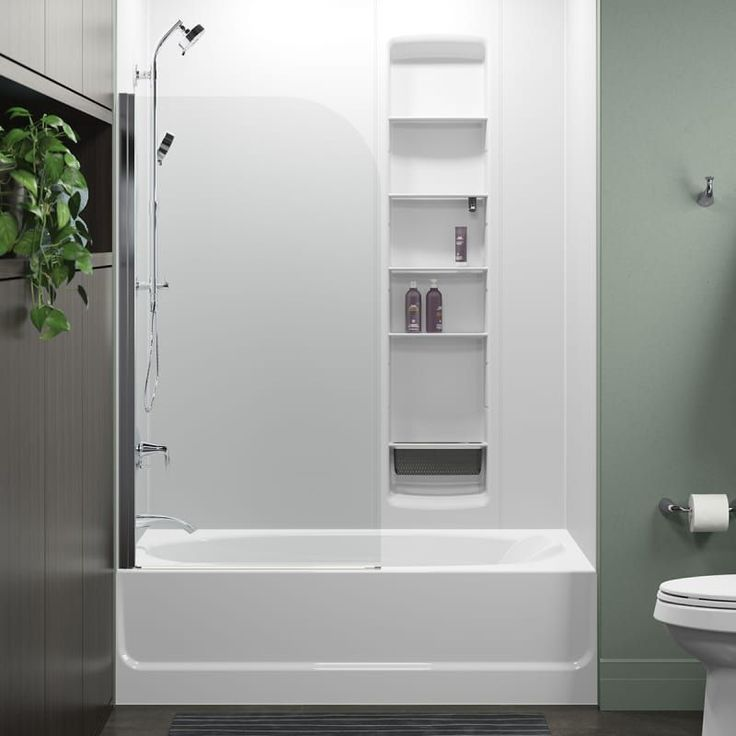 """Sterling 572111-32S-G05 Whiston 32"""" Bath Screen with CleanCoat and Curve Corner Silver Showers Shower Doors Hinged"""