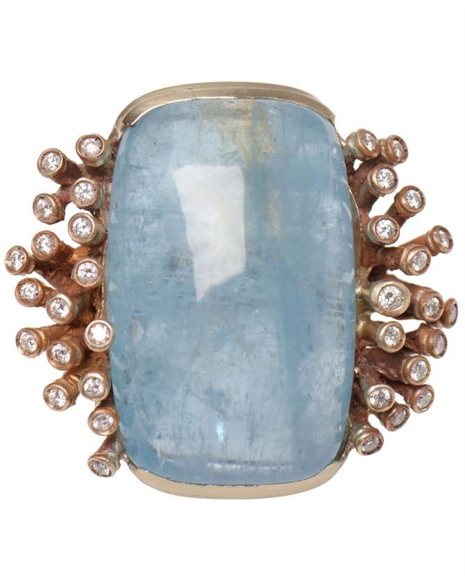 Maurizio Pintaldi diamond and aquamarine stalagmite ring