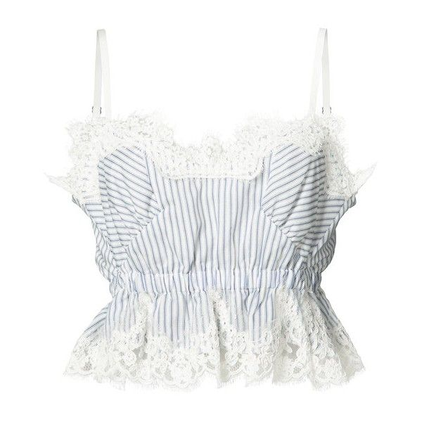 Sacai Striped Lace Silk Crop Top ($555) ❤ liked on Polyvore featuring tops, kirna zabete, kzloves, stripe shop, striped top, lace crop top, lace trim top, spaghetti strap top and white lace top