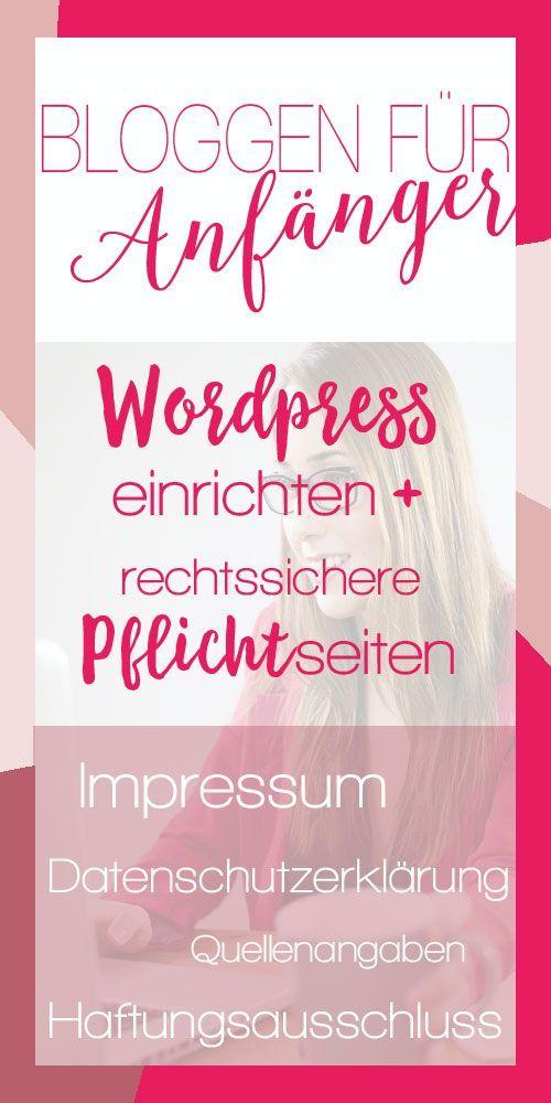 Wordpress Anleitung: Richte deinen Wordpressblog ein. Füge dein Logo ein, ändere die Farben und den Hintergrund, gestalte das Menü und die Sidebar. Vorlagen für Impressum, Datenschutzerklärung, Haftungsausschluss (Disclaimer). Unterschied zwischen Seiten und Kategorie.
