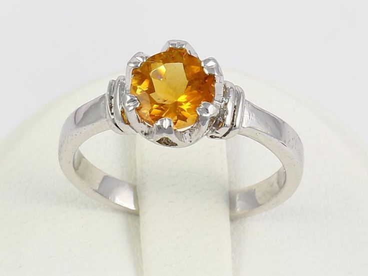 Fancy Beautiful Sterling Silver Citrine Gemstone Wedding Ring for Women SIZE