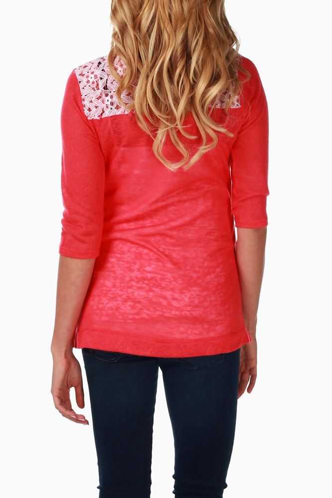 1a5f09960d29e Coral Lace Back Maternity Top | Maternity shirts | Pinterest | Coral ...