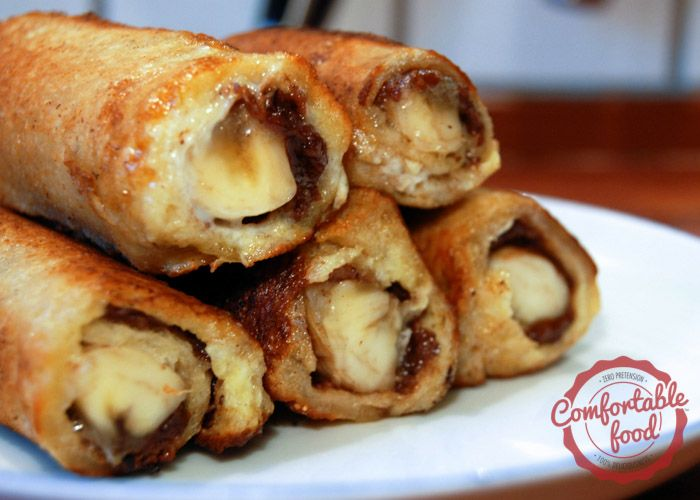 comfortable food - nutella and banana french toast roll ups