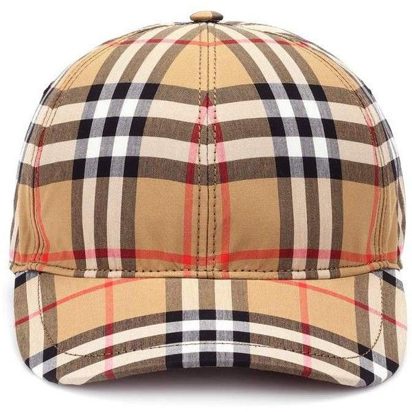 Burberry Vintage Check Cotton Baseball Cap ($360) ❤ liked on Polyvore featuring accessories, hats, beige, baseball hat, burberry, vintage hats, ball cap and burberry hat