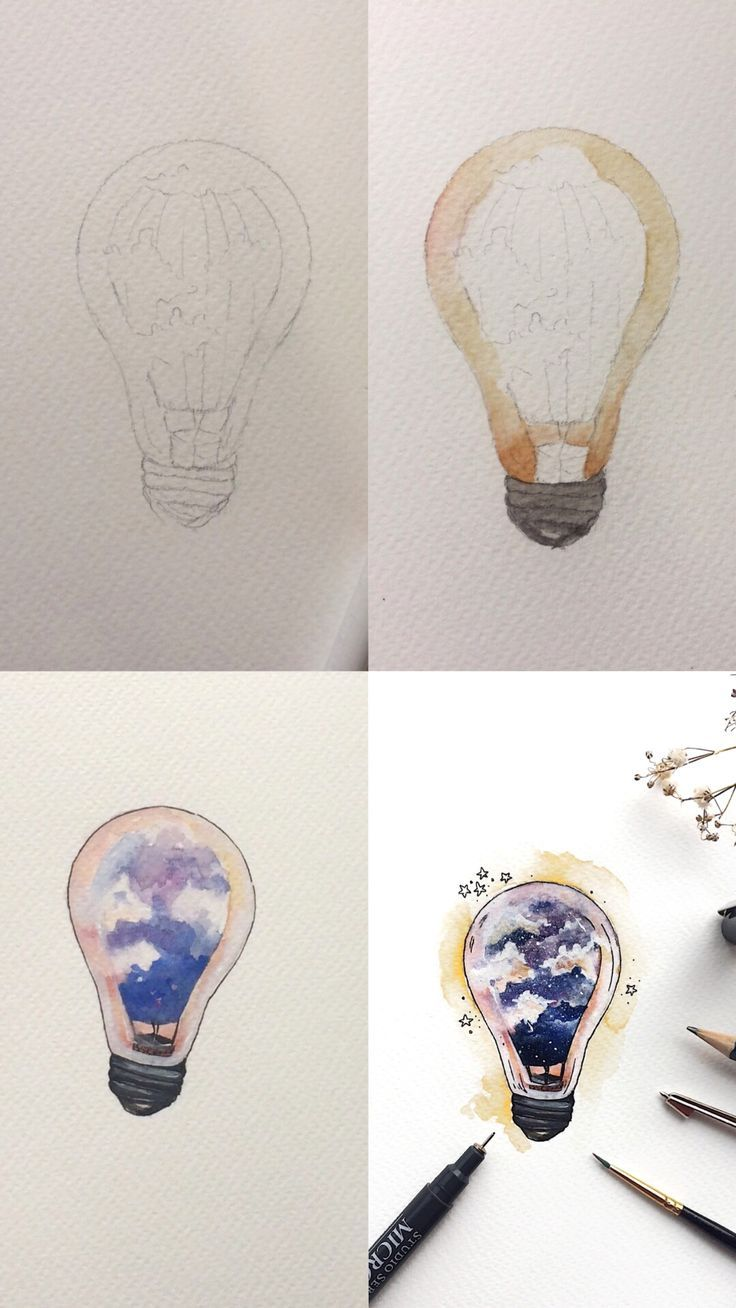 Air Balloon Doodle Lightbulb Step By Step Watercolor Painting