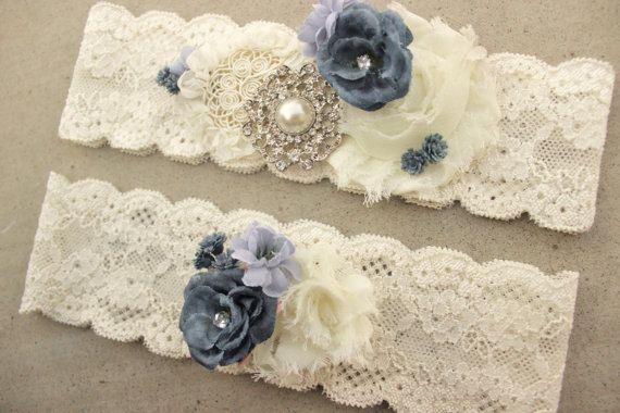 Something Blue Garter, Dusty Blue Wedding Garter Set - Gold or silver Brooch Bridal Accessory, Periwinkle Blue Country Wedding Garder Belt
