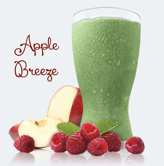 Apple Breeze Shakeology - 1 serving Greenberry Shakeology, ½ cup apple juice, ½ cup fresh or frozen raspberries, ½ cup water, For the best taste experience, use a blender and add ice. The more ice, the thicker it gets. Enjoy! Calories: 222
