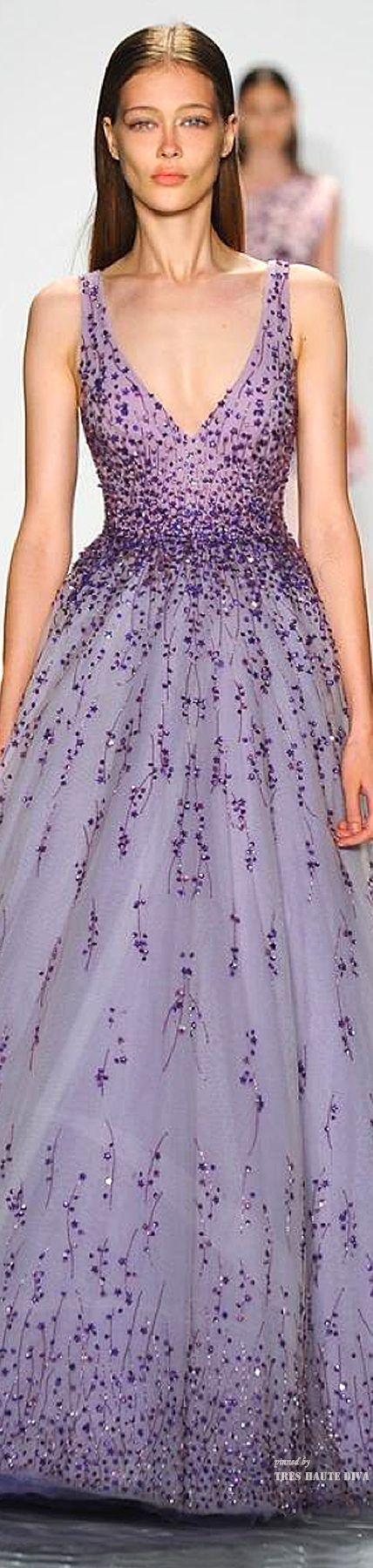 #NYFW Monique Lhuillier Spring 2015 RTW. How perfectly lovely in both color and style. Would make a great bridesmaid dress.