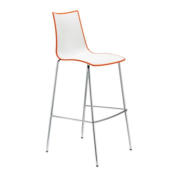 Taburete Zebra Bicolor cubierto con polímero. Estructura de acero tubular cromado. Para uso en interiores. Disponible en dos alturas.  Producto importado desde Italia, Scab Design.