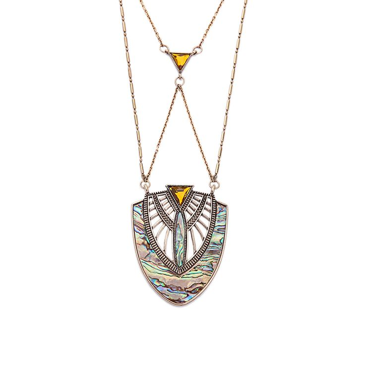 Geometric Shell Pendant Necklace Top-Rated Summer Jewelry Long Brass Chain Necklace Isn`t it awesome? Get it here