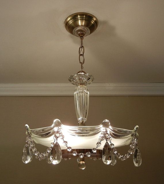 Vintage Chandelier Crystal Beaded Drape 1930s Antique Victorian Glass Hanging Ceiling Light Fixture Rewired