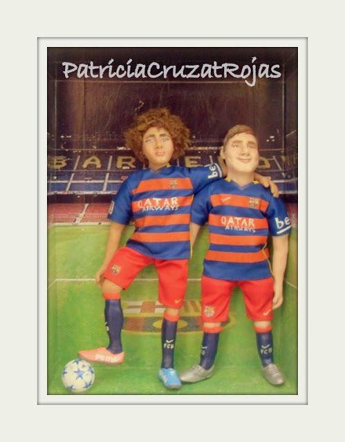 Patricia Cruzat Artesania y Color: Él con su ídolo Messi, en el estadio del Barcelona...en un cuadro