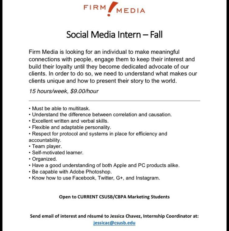 Attention Marketing students!!! Firm Media is looking for a - intern job description