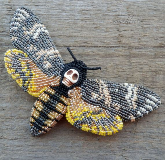 Bead Embroidered Brooch Death'shead Hawkmoth The by beadedmischka, $82.00 http://mischkabeads.blogspot.ru/