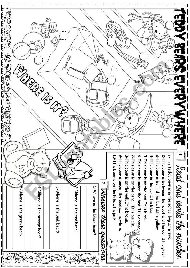 this worksheet is about prepositions,toys colours and