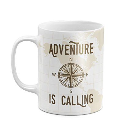 Coffee mug for travelers with travel quote: Adventure is calling, adventure travel quote. Unique travel gifts. Practical, useful gifts for travelers on checklist of essential travel packing list. Best travel gift ideas with travel accessories, DIY gift baskets. Small cool cheap gifts for friends, men, women, world travelers. International travel, study abroad, college students, backpacking. Under 20 dollars. #gifts #traveltips #travelquotes