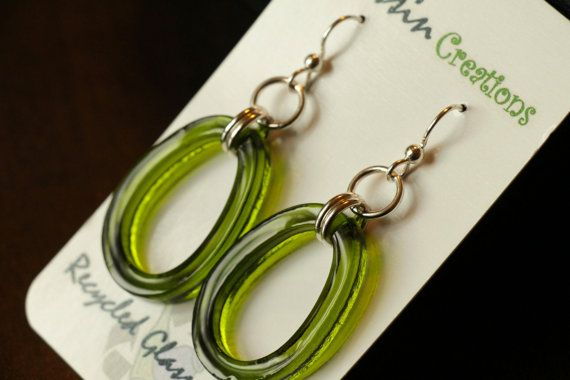 SLUMPED WINE Bottle Earrings Recycled Glass by DessinCreations, $32.00