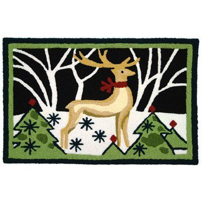Jellybean - Reindeer In White Forest by Jellybean. $34.50. Total Length:. Color: Black|Green|White. Weight Capacity:. Material:. Width:. The Jellybean Reindeer in White Forest rug features a beautiful reindeer with a red scarf in a winter forest. Which reindeer is yours going to be? Dasher, Dancer, Prancer, Vixen, Comet, Cupid, Donner, Blitzen or Rudolf? Let your reindeer be a warm greeting to all your visitors! The Jellybean Collection is handmade out of 50% po...