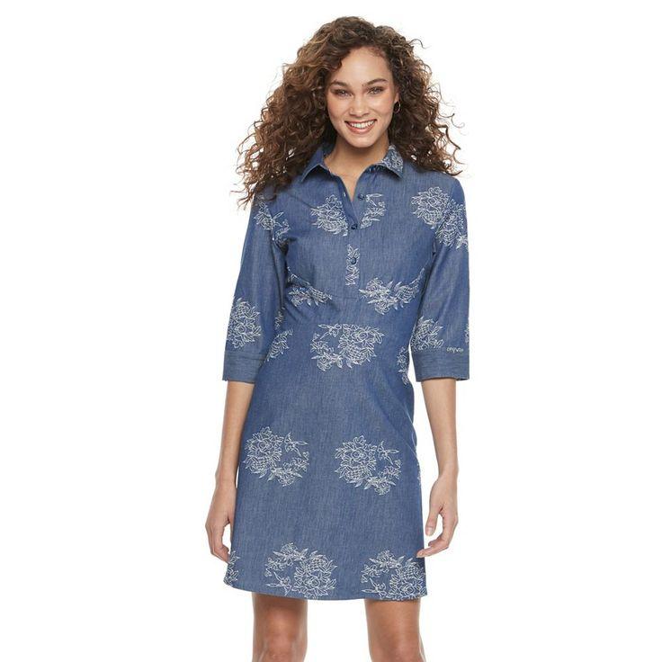 Women's Nina Leonard Embroidered Shirtdress, Size: 10, Blue Other