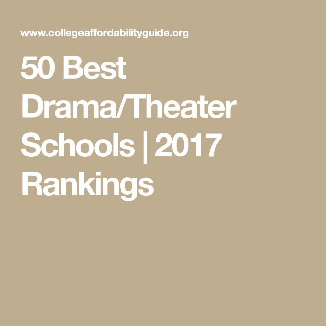 50 Best Drama/Theater Schools | 2017 Rankings