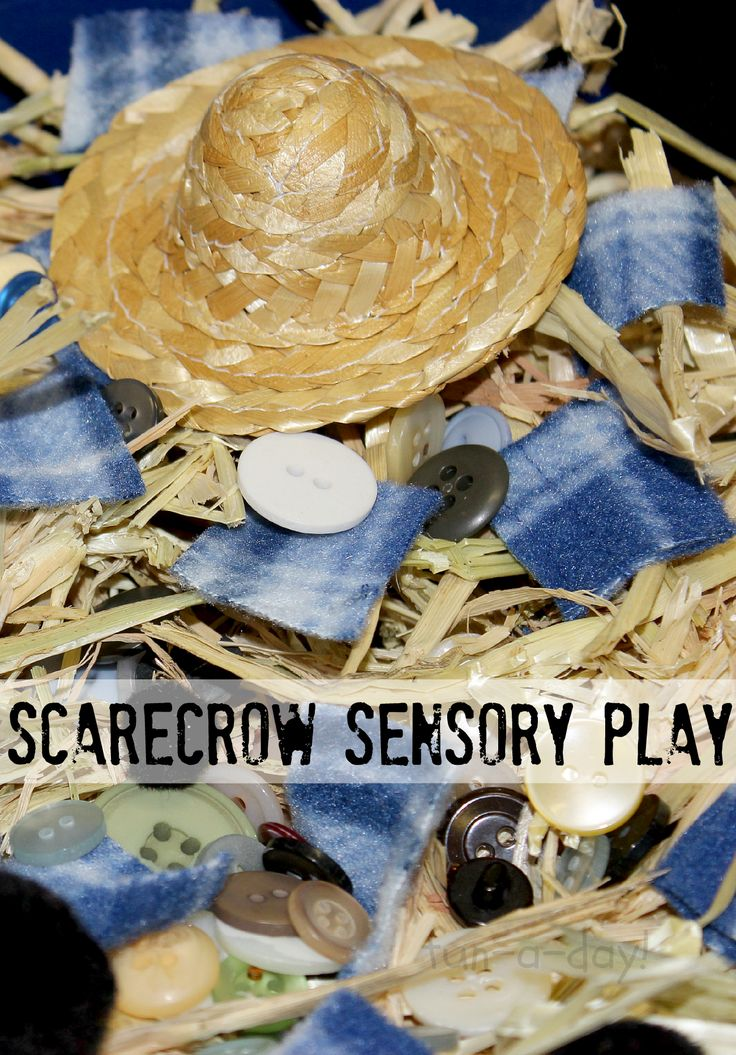 Fall fun in preschool with a scarecrow sensory bin!  Hours of sensory and pretend play with just a few simple materials.  Different textures and shapes for the children to explore, as well.
