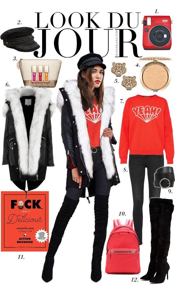 Look Du Jour: Yeah, yeah, yeah! Red graphic sweatshirt+black skinny jeans+black over the knee boots+black fur parka+red backpack+black baker boy cap+gold earrings. Winter Casual Outfit 2017-2018