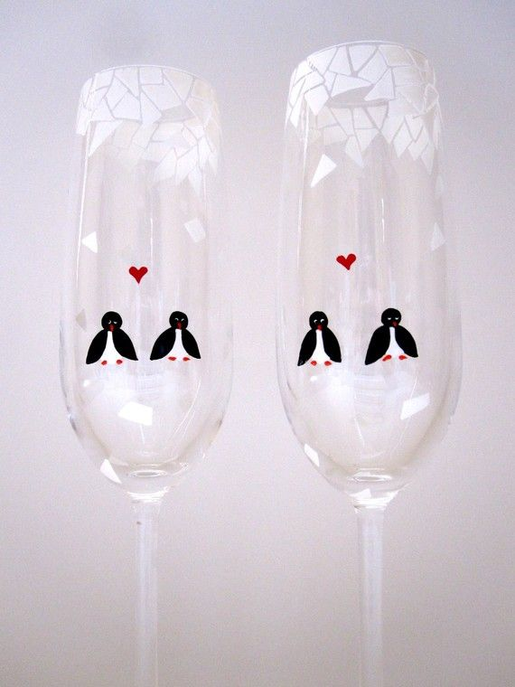 Penguins in Mosaic Snow- 2 Crystal Toasting Flutes
