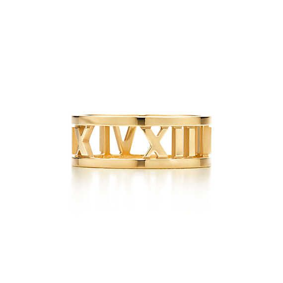 Atlas® open ring in 18k gold.  Tiffany and Co  I love roman numerals