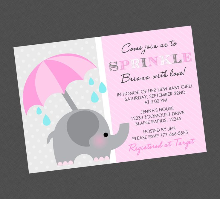 elephant sprinkle baby shower invitation pink by briezeesboutique