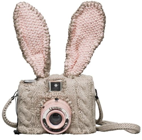 knitted diana camera with bunny case