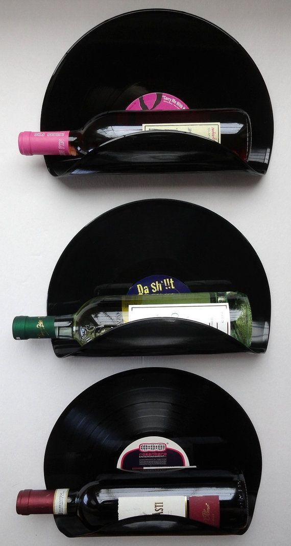 DJ Upcycled Vinyl Record Wine Rack Wall Organizer - Set of 3