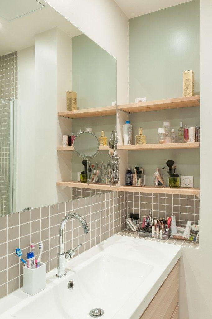 salle de bain, vasque, tablettes, rénovation, maéma architectes