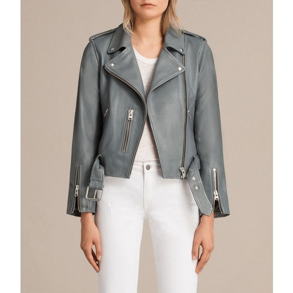 AllSaints Balfern Leather Biker Jacket ($560) ❤ liked on Polyvore featuring outerwear, jackets, slate blue, summer motorcycle jacket, slim leather jacket, cropped jacket, leather motorcycle jacket and rider leather jacket