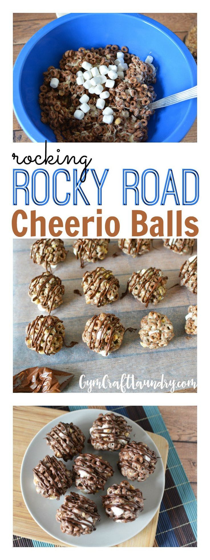 Easy homemade snack for kids. Make these rocking Rocky Road Cheerio Balls!