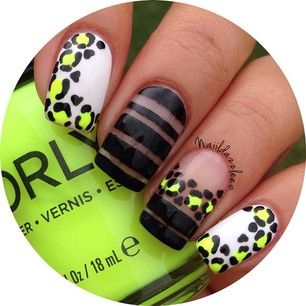 Animal print and striped nail art.