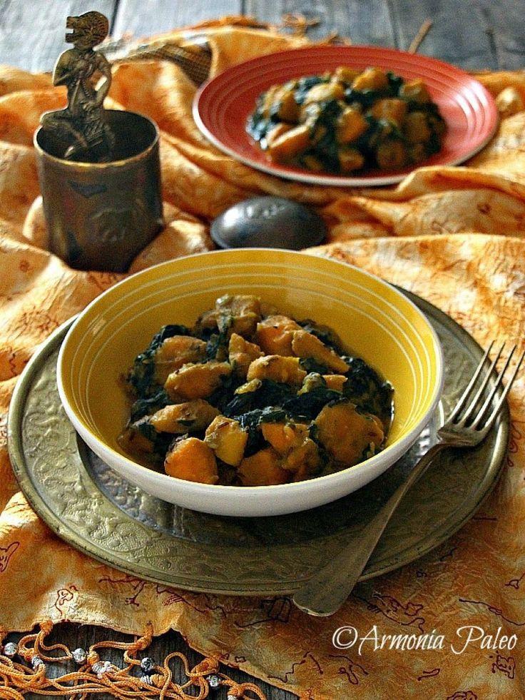 Sweet Potato Saag Aloo - Curry Indiano di Patate Dolci e Spinaci
