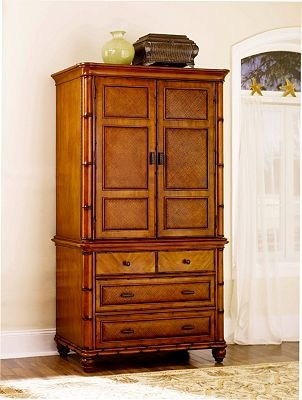 From The Woven Raffia To The Bamboo Look Molding, Antigua Armoire Is A  Naturalist Statement Piece.