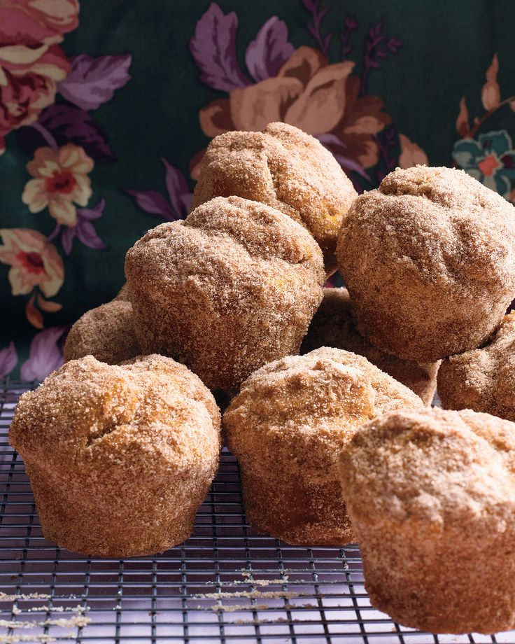 Pumpkin Doughnut Muffins | Martha Stewart Living - This recipe combines all of our favorite things: doughnuts, muffins, and of course, pumpkin spice! They make a decadent autumn breakfast.